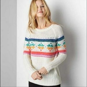 American Eagle Rainbow Fair Isle Snowflake Sweater